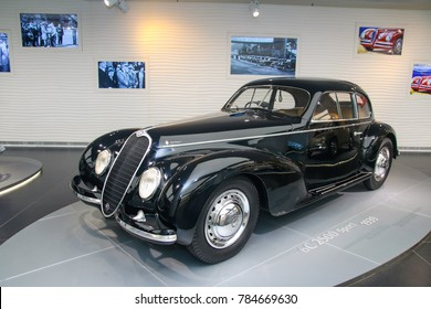 Arese, Italy - 12/27/2016 - A superb Alfa Romeo 6C 2500 Sport model on display at The Historical Museum Alfa Romeo