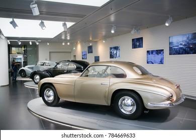 Arese, Italy - 12/27/2016 - A superb Alfa Romeo 6C 2500 Villa d'Este model on display at The Historical Museum Alfa Romeo