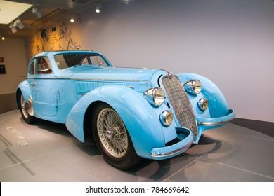 Arese, Italy - 12/27/2016 - A superb Alfa Romeo 8C 2900B Passo Lungo model on display at The Historical Museum Alfa Romeo