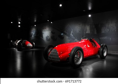 Arese, Italy - 29.06.17: Alfa Romeo 158 race car at the historic museum of the Italian brand. The car, used in the early years of Formula 1 racing, won many races and was unbeatable for few years.