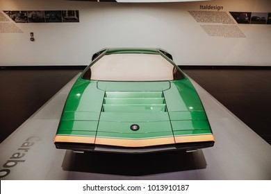 ARESE, ITALY - Jan 28, 2018 _ Alfaromeo Museum - Frontal view of Alfa Romeo CARABO by Bertone 1968 Concept - vintage car - dream car