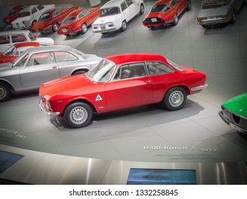 ARESE, ITALY-FEBRUARY 13, 2019: 1965 Alfa Romeo Giulia Sprint GTA (105/115 series) in the Alfa Romeo Museum (Museo Storico Alfa Romeo)