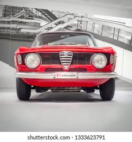 ARESE, ITALY-FEBRUARY 13, 2019: 1965 Alfa Romeo Giulia Sprint GTA (105/115 series, front view) in the Alfa Romeo Museum (Museo Storico Alfa Romeo)