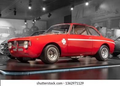 ARESE, ITALY-FEBRUARY 13, 2019: 1970 Alfa Romeo GTA 1300 Junior in the Alfa Romeo Museum (Museo Storico Alfa Romeo)