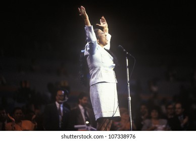 Aretha Franklin sings at the 1992 Democratic National Convention at Madison Square Garden, New York