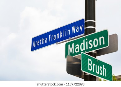 Aretha Franklin Way Sign at Intersection Downtown Detroit, Michigan (corner Madison and Brush). Selective focus.