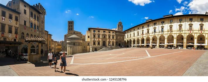 Arezzo - Italy - 08-04.2015: Piazza Grande, the most beautiful medieval square in Arezzo