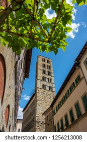 AREZZO/ ITALY 2017 - View on the church of Santa Maria della Pieve and its bell tower