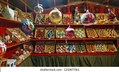 AREZZO, ITALY - DECEMBER  17, 2018: Detail of tyrolean christmas market in the Piazza Grande of Arezzo, Tuscany