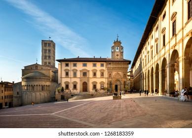 AREZZO, ITALY - January 28, 2018: Piazza Grande the main square of  Arezzo city, Tuscany, Italy