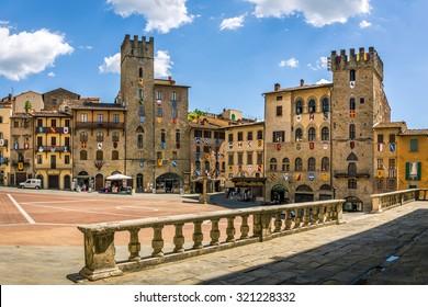 AREZZO, ITALY - JUNE 26, 2015: Piazza Grande the main square of tuscan Arezzo city, Italy