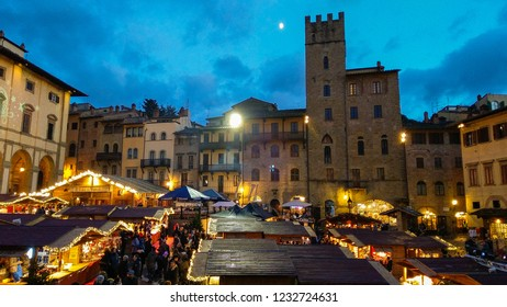 AREZZO, ITALY - NOVEMBER 17, 2018: Tyrolean christmas market in the famous Piazza Grande of Arezzo
