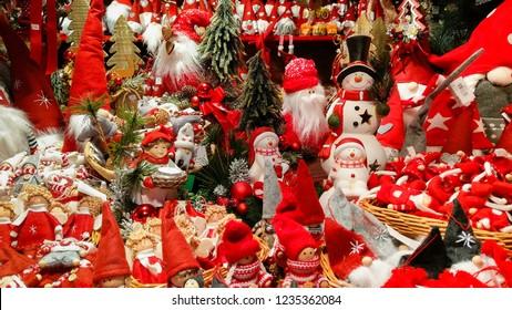 AREZZO, ITALY - NOVEMBER 17, 2018: Fantastic decorations at the christmas market of Arezzo