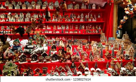 AREZZO, ITALY - NOVEMBER 17, 2018: Miniature handmade house at the tyrolean christmas market of Arezzo, Tuscany