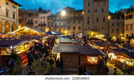 AREZZO, ITALY - NOVEMBER 17, 2018: Tyrolean christmas market in Piazza Grande of Arezzo, Tuscany