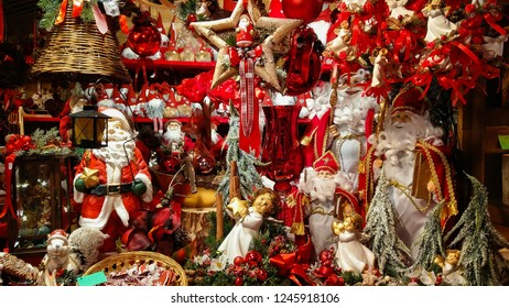 AREZZO, ITALY - NOVEMBER 17, 2018: Tyrolean christmas market in the main square of Arezzo, Tuscany