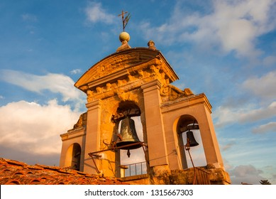 AREZZO, ITALY - NOVEMBER 22, 2018: Palace of the Fraternity of the Laity belfry in Arezzo at sunset, built in the 16th century