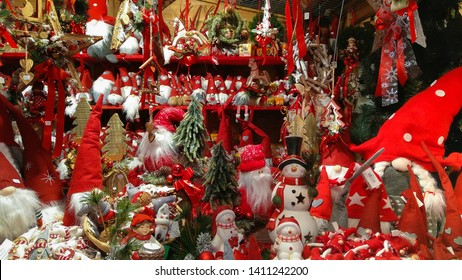 AREZZO, ITALY - NOVEMBER 25, 2018: Objects for sale at the traditional christmas market of Arezzo in Tuscany