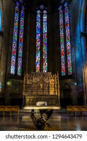 AREZZO, ITALY - OCTOBER 10, 2018: View of the famous stained glasses in Arezzo Cathedral (Cattedrale di Ss. Donato e Pietro) in the interior of the church in Arezzo, Tuscany, Italy