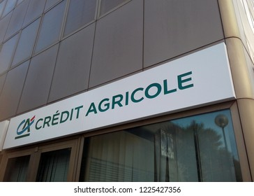 AREZZO, ITALY - OCTOBER 14, 2018: Credit Agricole bank branch in Arezzo, Tuscany.