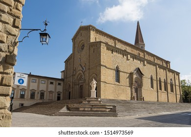 AREZZO, ITALY - September 18, 2019: Cathedral of Saints Peter and Donato Arezzo side view