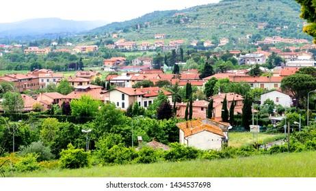 Arezzo - May 25, 2019: Panorama of the beautiful city of Arezzo in Tuscany - Italy