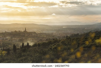 Arezzo mountains with a view of the ancient cathedral, tuscany