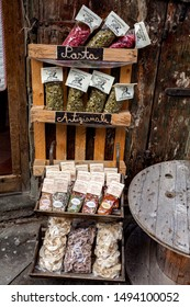 AREZZO, TUSCANY, ITALY - JANUARY 10, 2016: Typical tuscan artisan pasta and spices in one of the oldest shops in the city of Arezzo selling most typical food products of Tuscany.