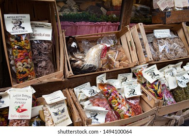 AREZZO, TUSCANY, ITALY - JANUARY 10, 2016: Typical Italian artisanal pasta, spices and cookies at Antica Bottega Toscana, one of the oldest shops in Arezzo selling typical food products from Tuscany.