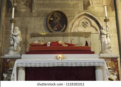 Arezzo, Tuscany, Italy - May 21 ,2016 : The effigy of Pope Gregory X Arezzo San Donato cathedral, Arezzo, Italy.