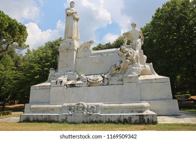 AREZZO, TUSCANY/ITALY - AUGUST 8 2018: Located in the city of his birth, Arezzo, Italy, the exquisite monument to Francesco Petrarch, poet, writer, and Father of Humanism during the early Renaissance.