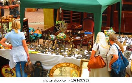 Arezzo/Italy- 2012: Market in Arezzo, Italy