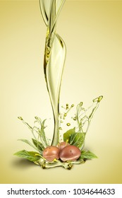 Argan fruits and oil splash on green background composite