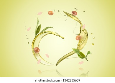 Argan oil bottle with fruits and oil splash on green background composite