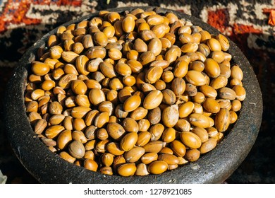 ARGAN SEEDS AND ARGAN NUTS. Making of argan oil from argan nuts and seeds in Morocco. Traditional method