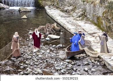 ARGEGNO, COMO LAKE - ITALY - January 01, 2017: Scene of Jesus life. The Miraculous Catch of Fish