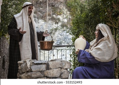 ARGEGNO, COMO LAKE - ITALY - January 01, 2017: Scene of Jesus life. Jesus meets the Samaritan.