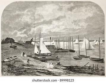 Argenteuil basin old view, Paris surroundings. Created by Anastasi, published on L'Illustration, Journal Universel, Paris, 1858