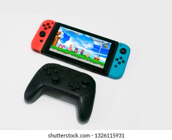Argentina 27 of February. Super Mario Bros. U Deluxe on Nintendo Switch gaming console and  Pro Controller.