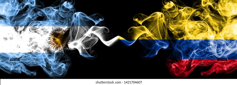Argentina, Argentinian, Colombia, Colombian, competition thick colorful smoky flags. America football group stage qualifications match games