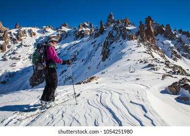 Argentina August 24 2013. A woman ski touring near Bariloche, Patagonia, Argentina