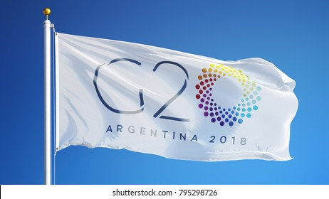 ARGENTINA BUENOS AIRES NOVEMBER 2018: G20 2018 Group of Twenty Meeting flag waving in against blue sky, close up.