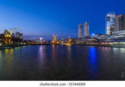 Argentina, Buenos Aires Province, City of Buenos Aires - September 29, 2015: Twilight view of Puerto Madero.