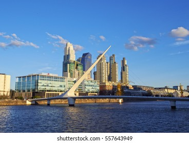 Argentina, Buenos Aires Province, City of Buenos Aires - September 29, 2015: View of Puente de la Mujer in Puerto Madero.
