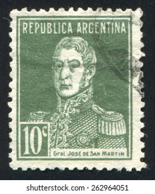ARGENTINA - CIRCA 1916: stamp printed by Argentina, shows General Jose de San Martin, circa 1916