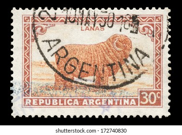 ARGENTINA - CIRCA 1936: Mail stamp printed in Argentina featuring a Merino sheep in full wool coat, circa 1936