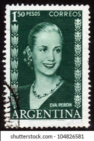 ARGENTINA - CIRCA 1948: A stamp printed in Argentina shows image of a political leader of Argentina, Maria Eva Duarte de Peron, circa 1948