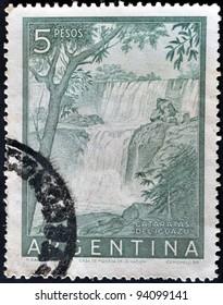 ARGENTINA - CIRCA 1950: A stamp printed in Argentina shows Iguazu Falls, circa 1950