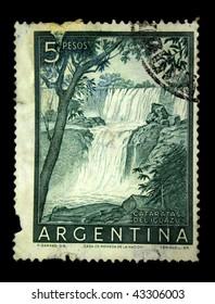 ARGENTINA - CIRCA 1950s: A stamp printed in Argentina shows Iguazu Falls, circa 1950s