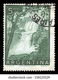 ARGENTINA - CIRCA 1955: a stamp printed in the Argentina shows Iguacu Falls, circa 1955